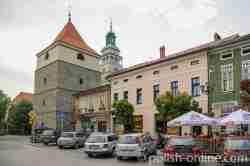 Marktplatz mit Glockenturm in Saybusch (Żywiec)