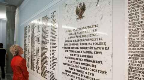 Namenstafel im Sejm in Warschau
