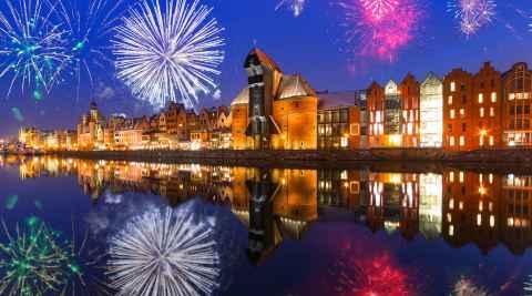 Ein Feiertag wird in Danzig mit einem Feuerwerk begangen