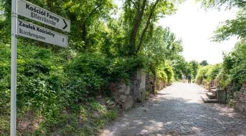 Straßenschild in der Altstadt Küstrin (Kostrzyn)