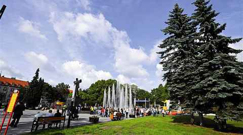 Springbrunnen im Stadtzentrum von Zabrze
