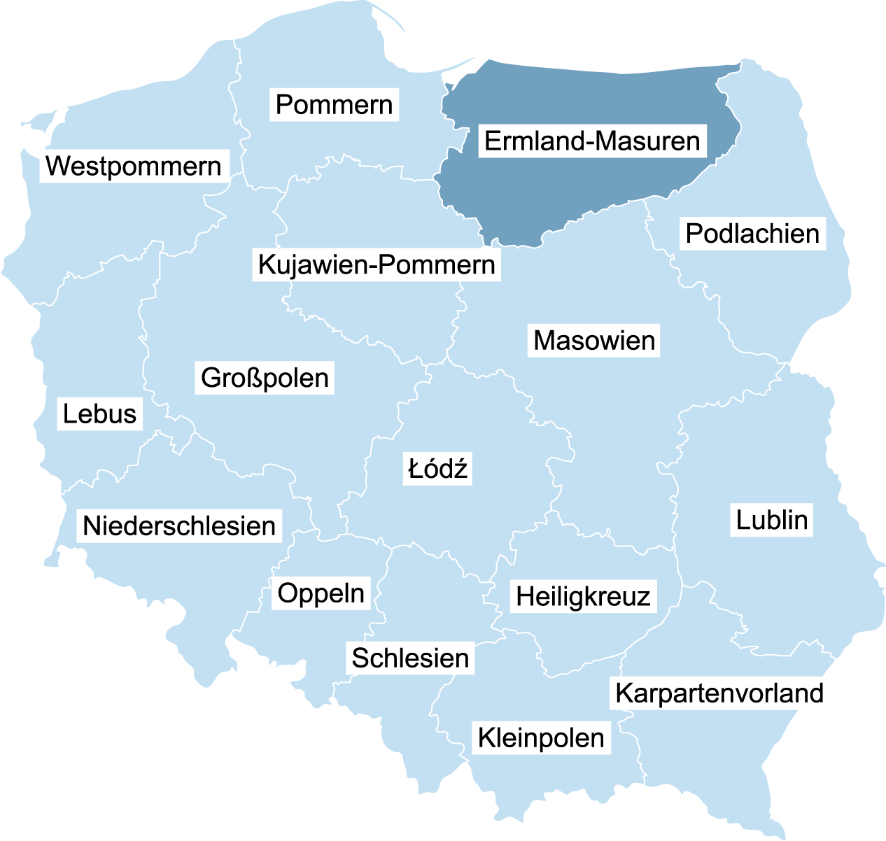 Landkarte von Polen mit der eingezeichneten Wojewodschaft Ermland-Masuren