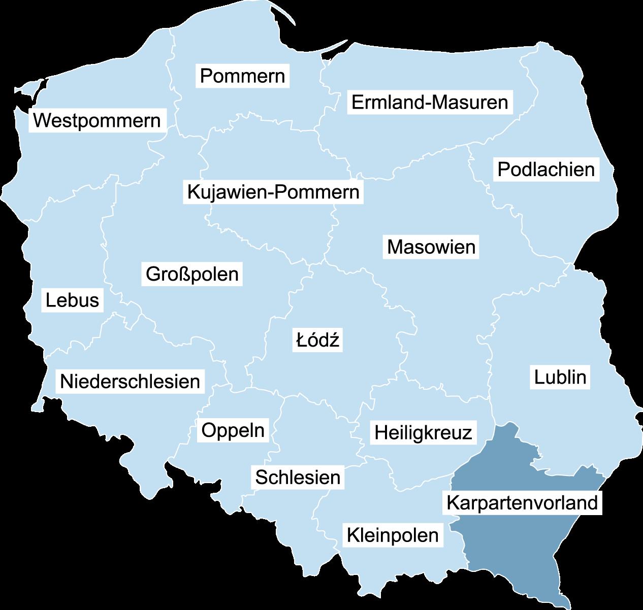 Landkarte von Polen mit der eingezeichneten Wojewodschaft Karpatenvorland